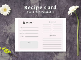 Free Simple Minimalist Recipe Card Template