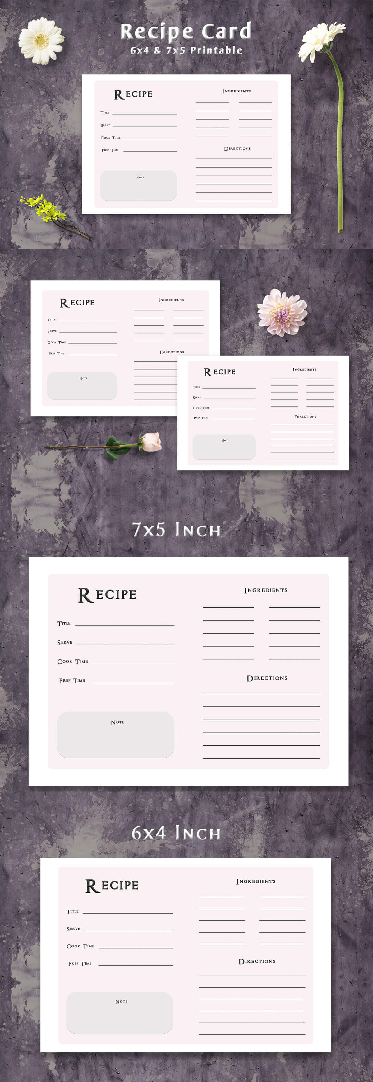 Free Simple Minimalist Recipe Card Template