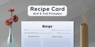 Free Simple Plants Recipe Card Template
