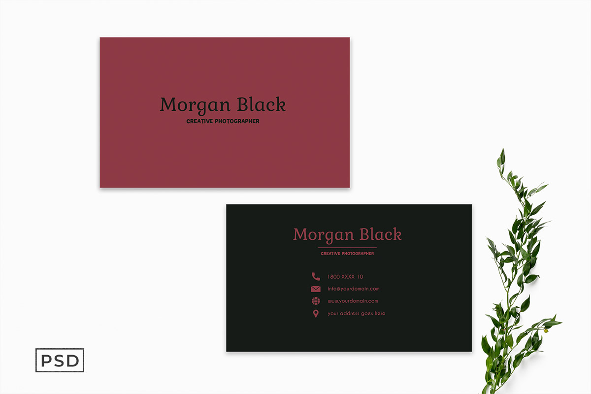 Free Sober Business Card Template Display