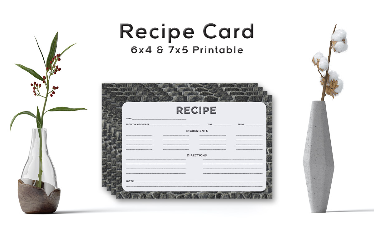 Free Stone Pattern Recipe Card Template