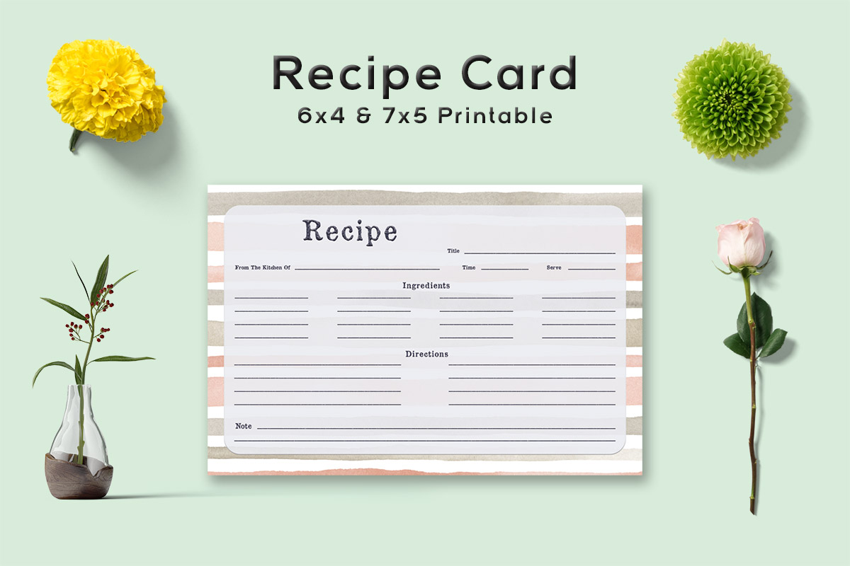 Free Stripe Pattern Recipe Card Template