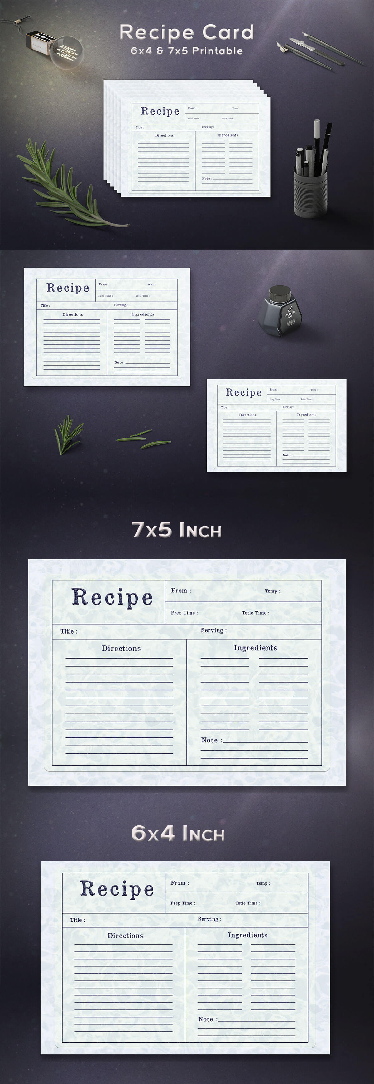 Free Water Pattern Recipe Card Template