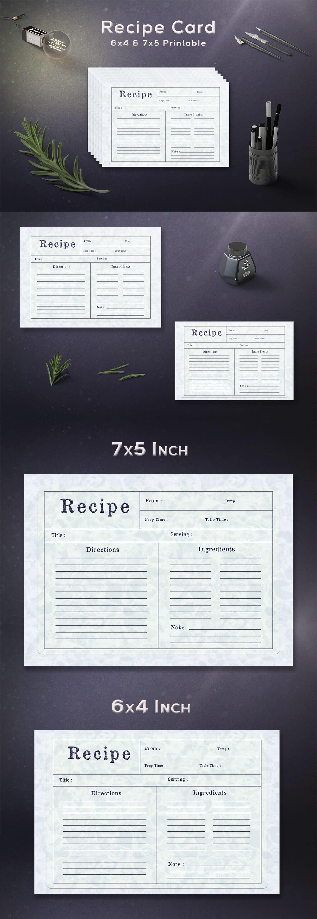 Free Water Pattern Recipe Card Template