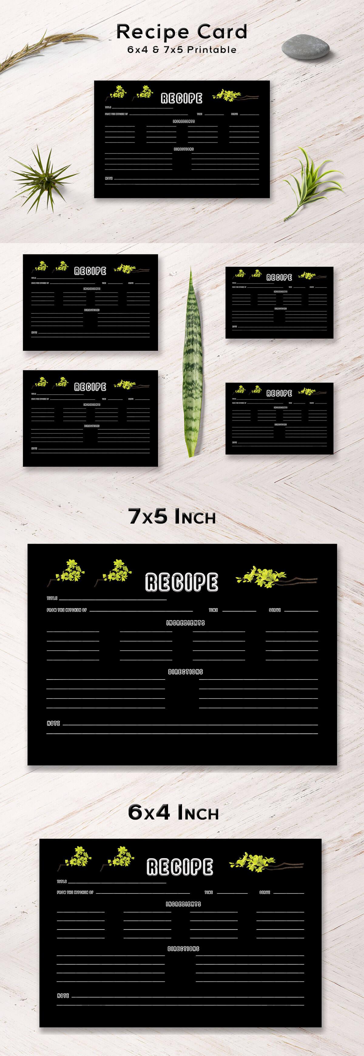 Free Yellow Plants Recipe Card Template
