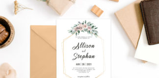Free Floral Geometric Wedding Invitation Template