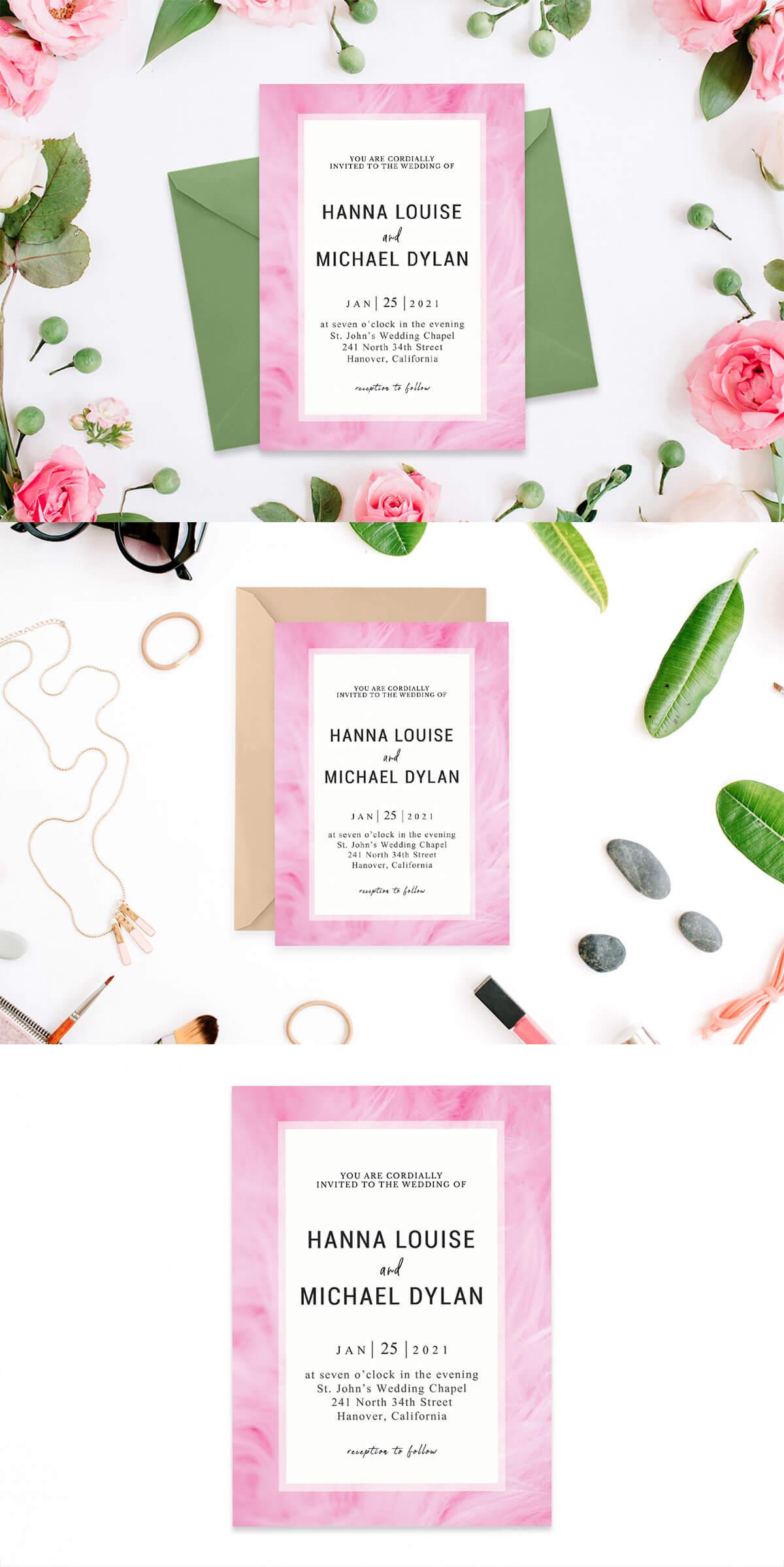 Free Chantilly Pink Wedding Invitation Template