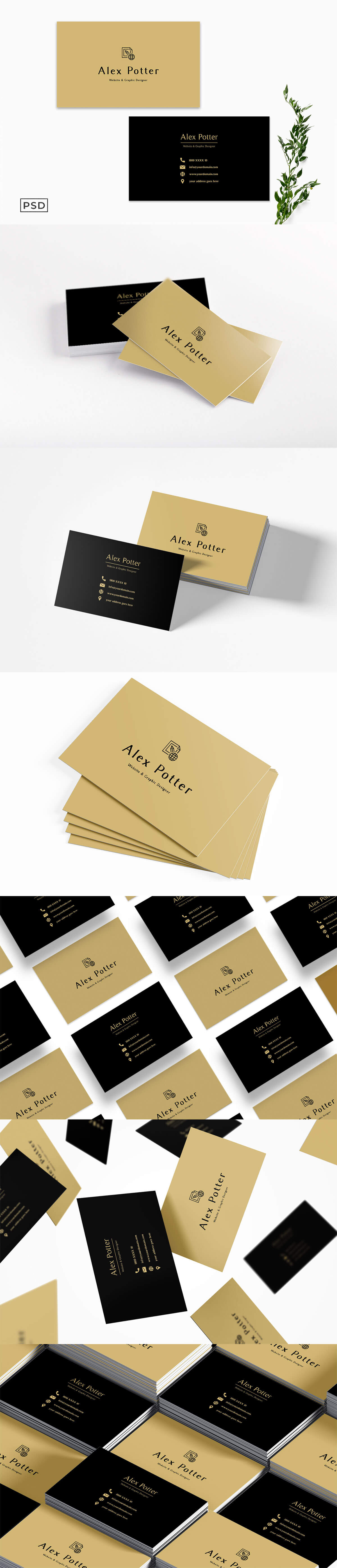Free Black Golden Business Card Template
