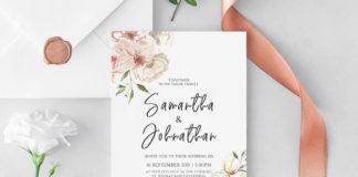 Free Blush Floral Wedding Invitation Template