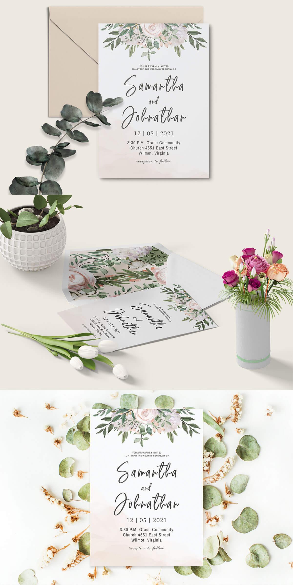 Free Boho Wedding Invitation Template