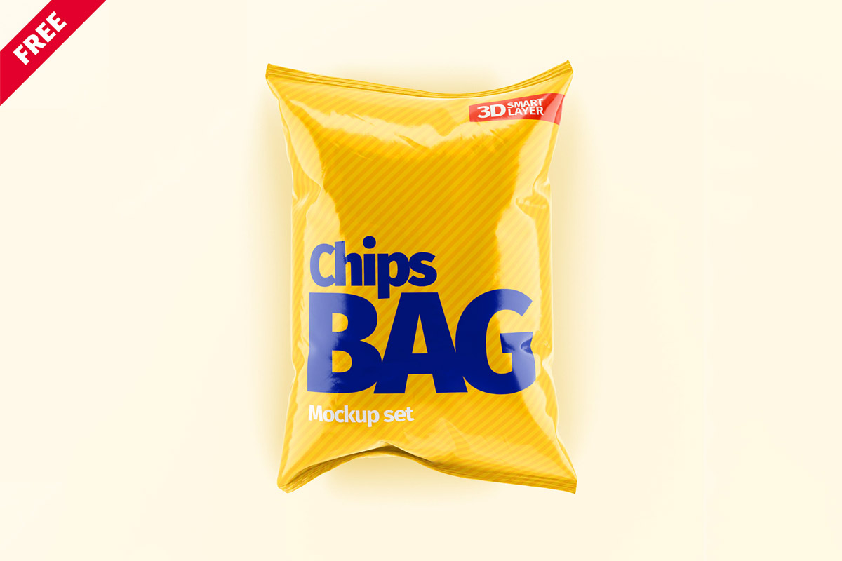 Free Chips Bag Mockup Set