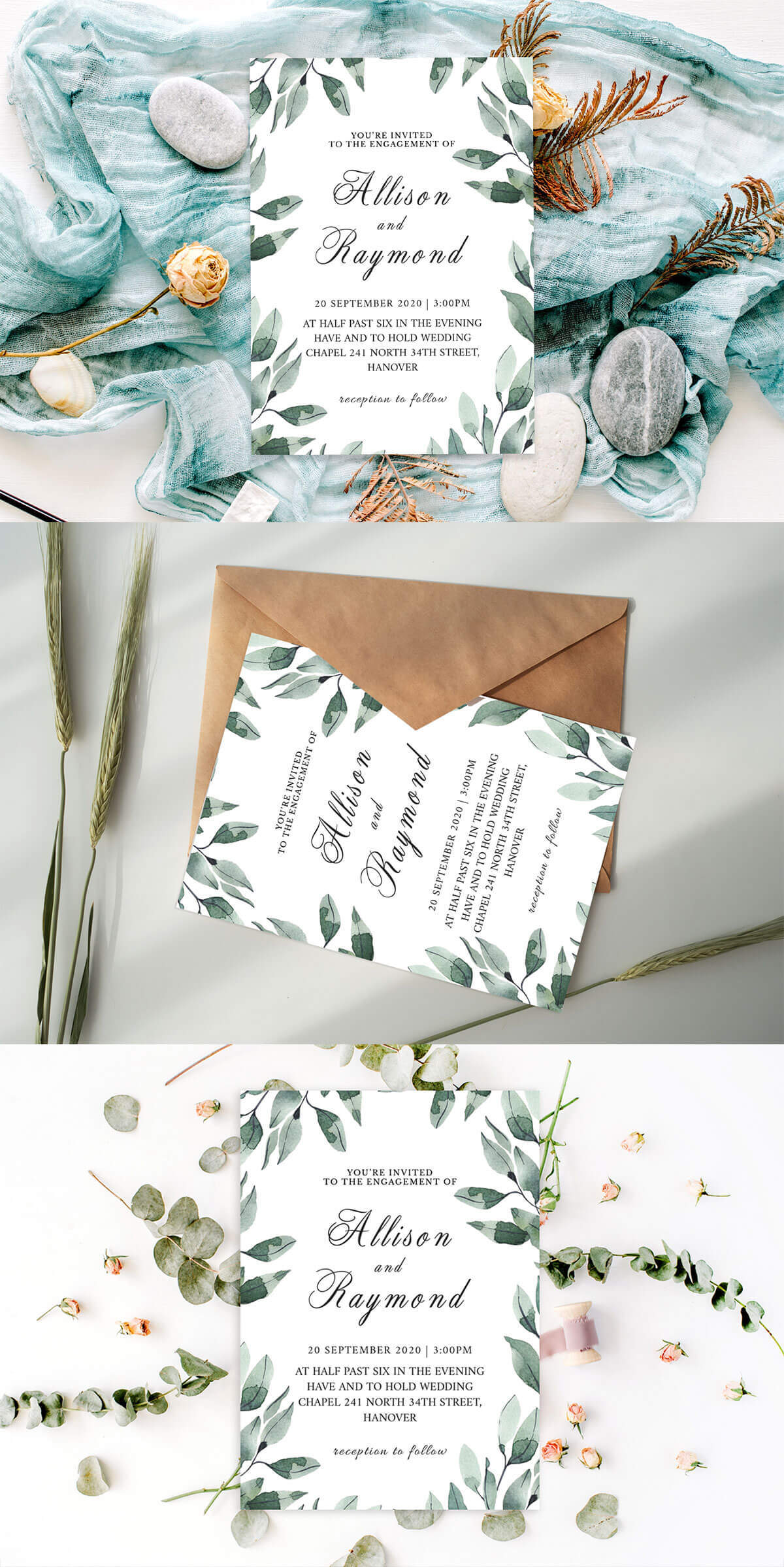 Free Floral Wedding Invitation Template V2