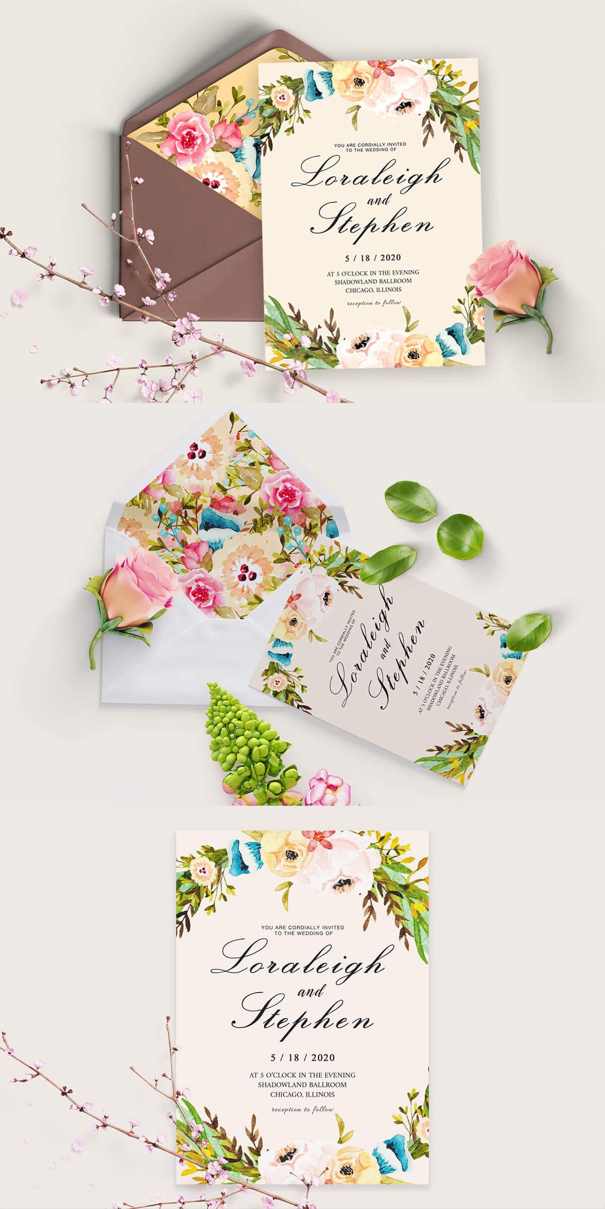 Free Floral Wreath Wedding Invitation Template