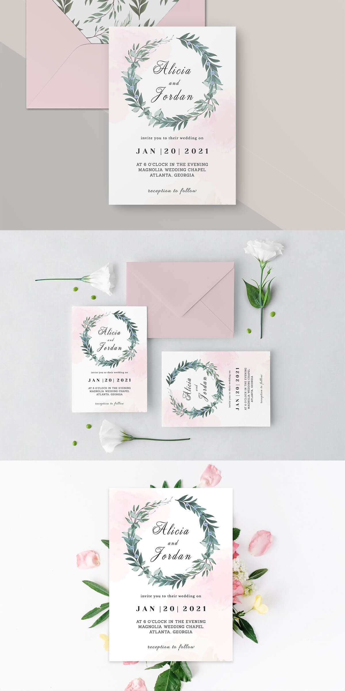 Free Greenery Wedding Invitation Template