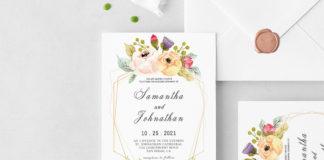 Free Modern Geometric Wedding Invitation