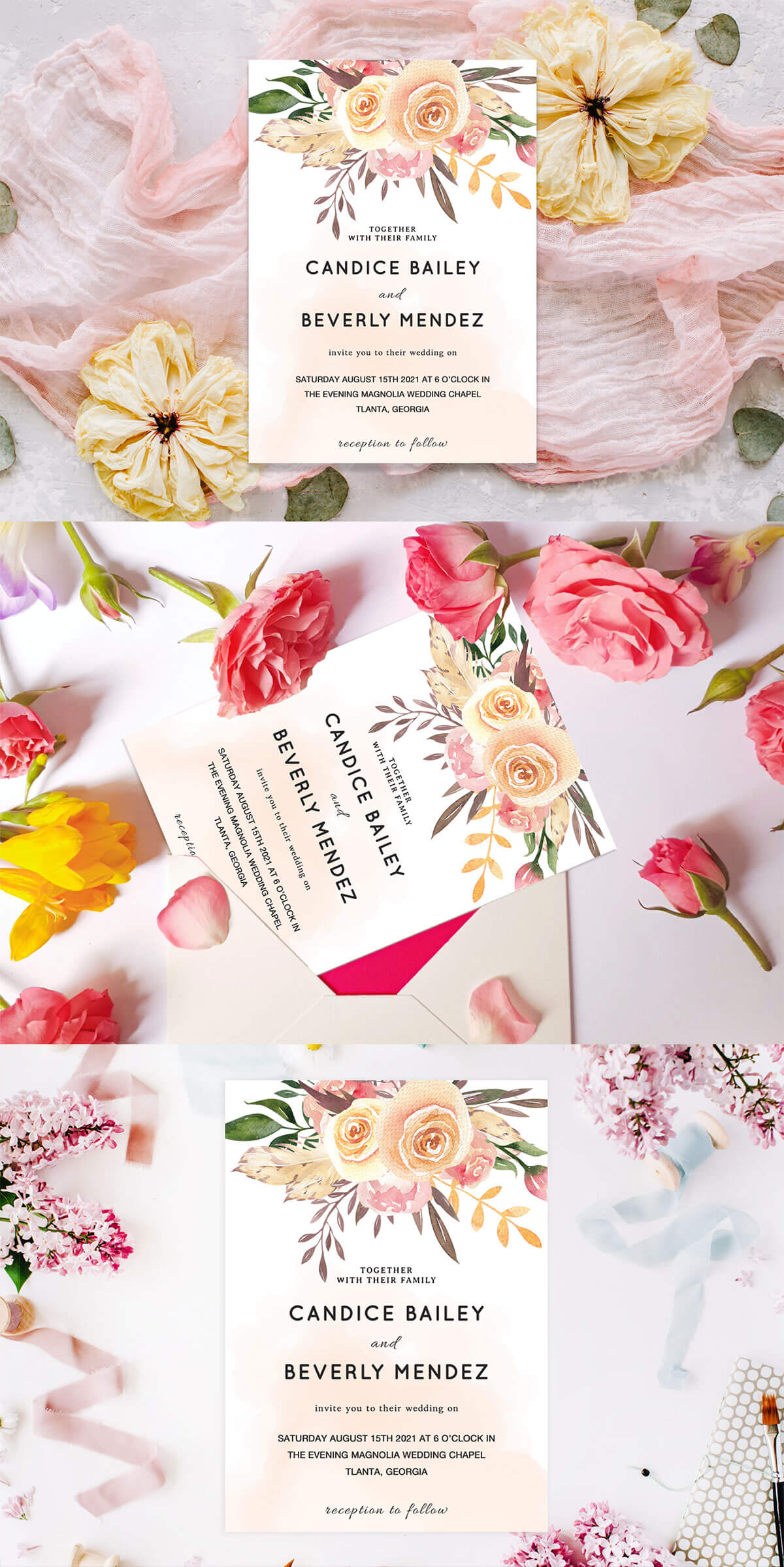 Free Pale Pink Wedding Invitation Template