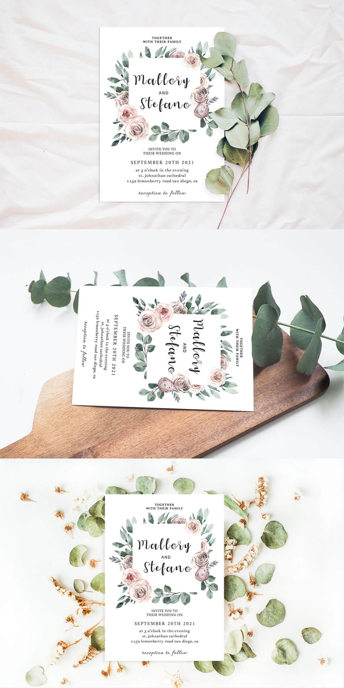 Free Roses Wedding Invitation Template