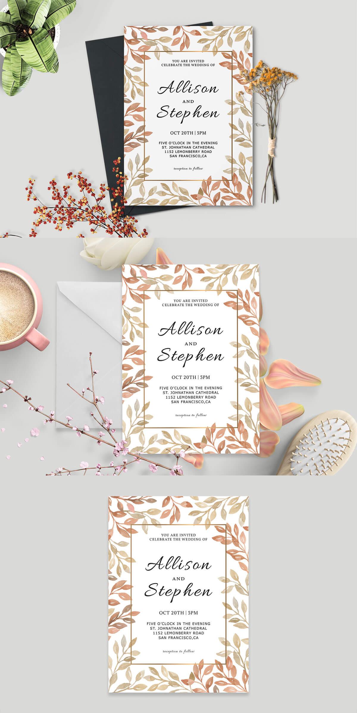 Free Autumn Wreath Wedding Invitation Template