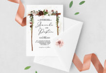 Free Burgundy Floral Arch Wedding Invitation
