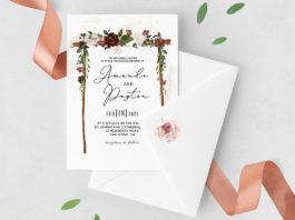 Free Burgundy Floral Arch Wedding Invitation