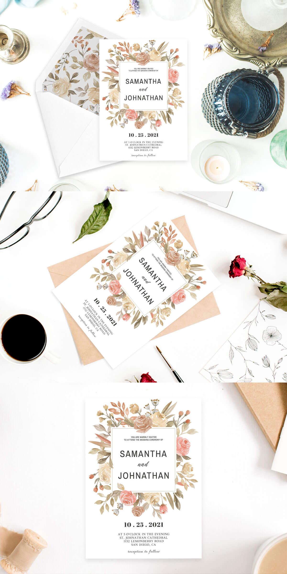 Free Dusty Rose Wedding Invitation Template