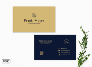 Free Simple Golden Business Card Template