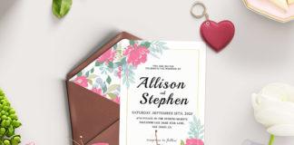 Free Watercolor Flowers Wedding Invitation Template