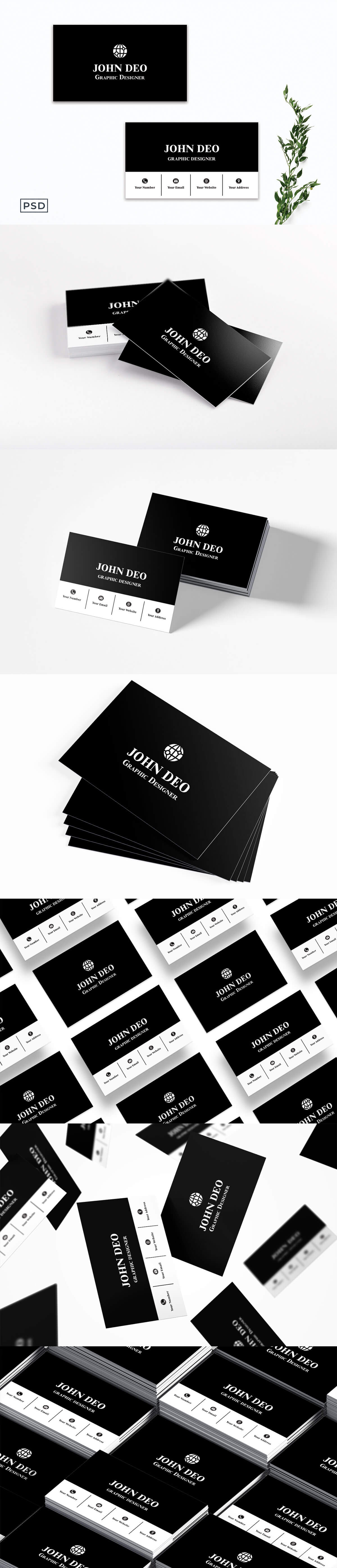 Free Black Innovative Business Card Template
