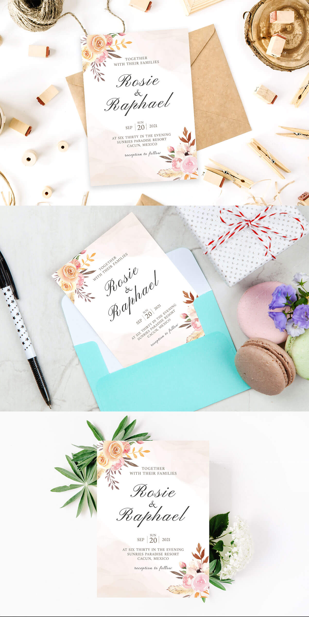 Free Blush Watercolor Wedding Invitation Template