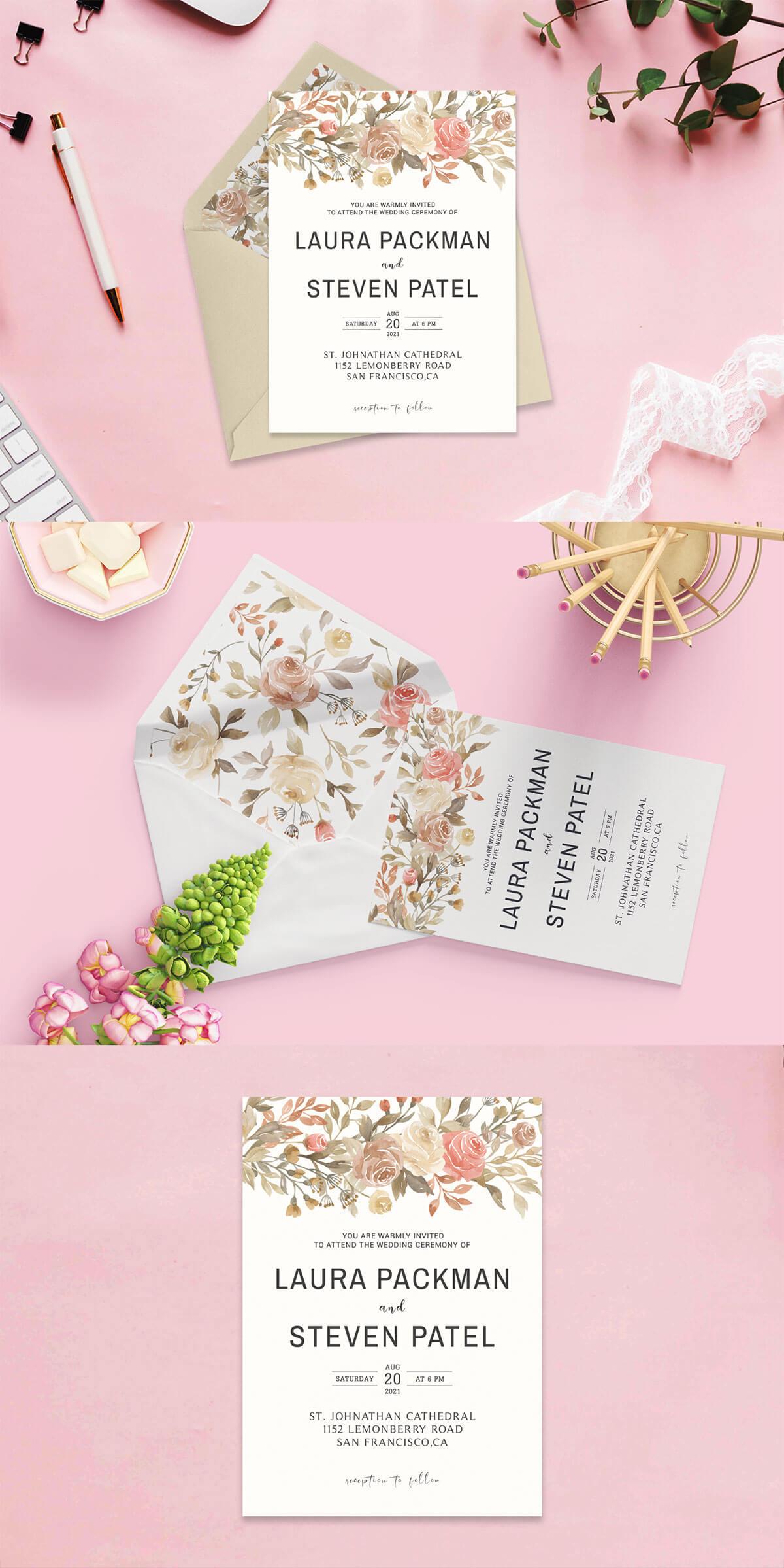 Free Dusty Rose Wedding Invitation Template V2