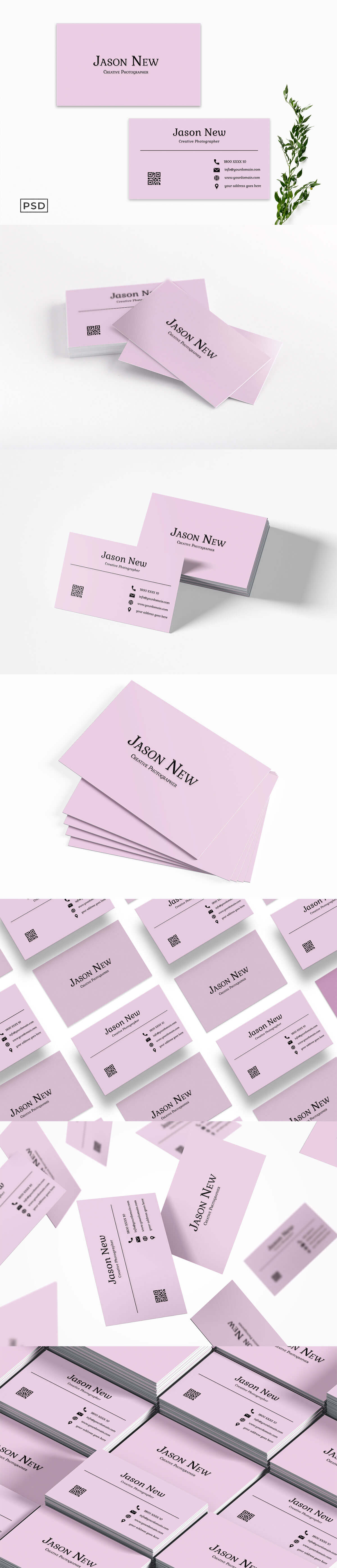 Free Pink Business Card Template