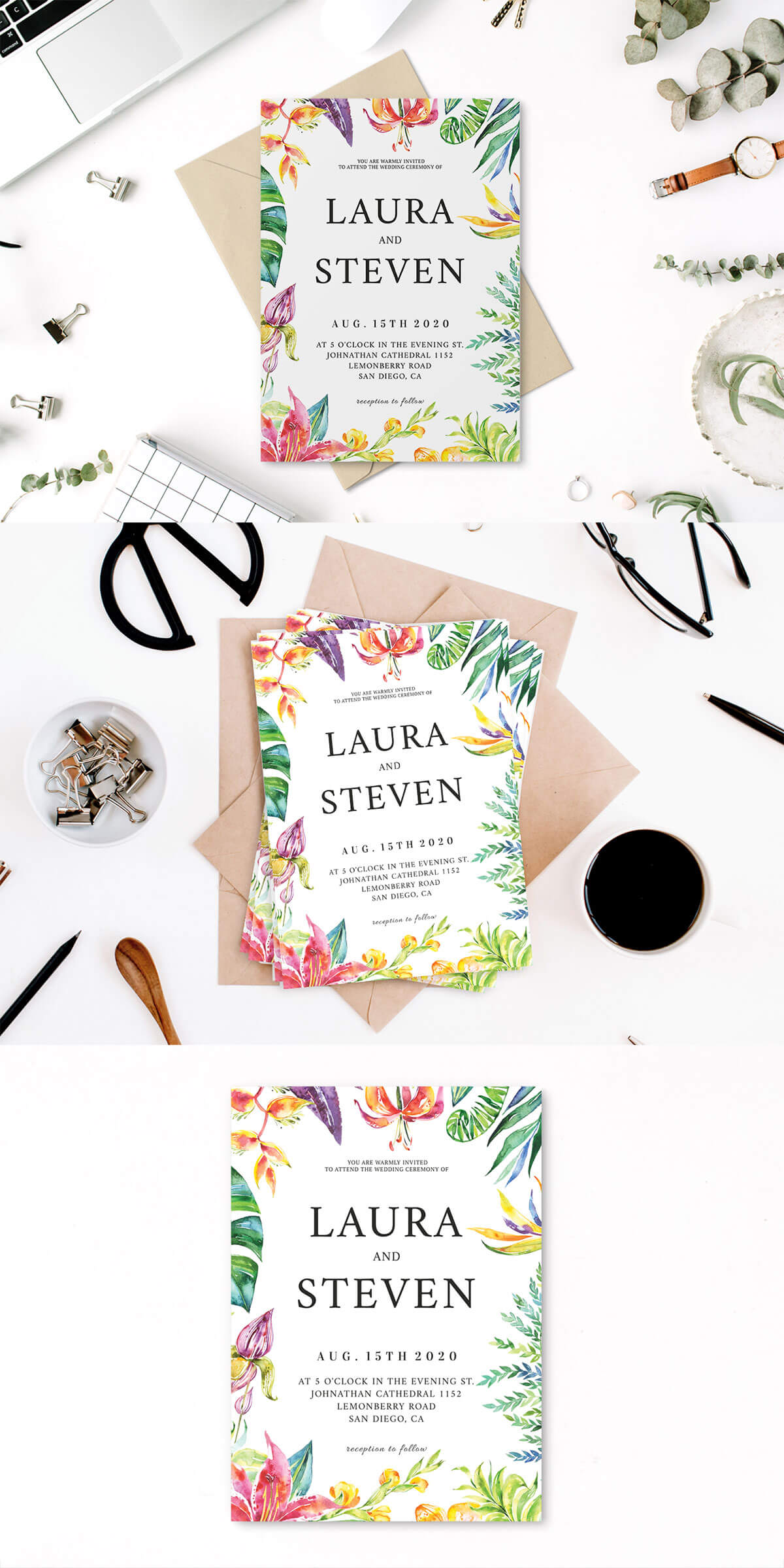 Free Whimsical Watercolor Wedding Invitation Template