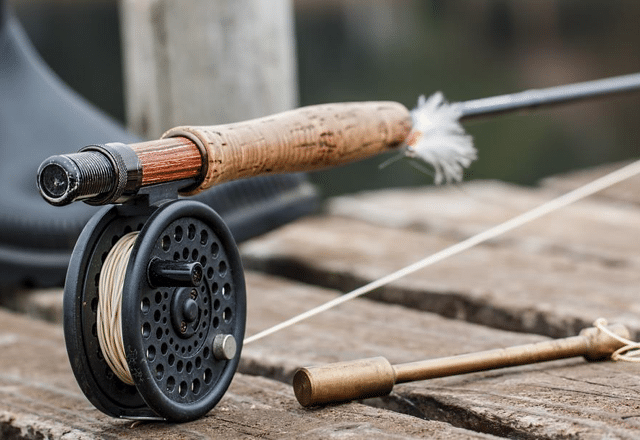 fly rod on a deck