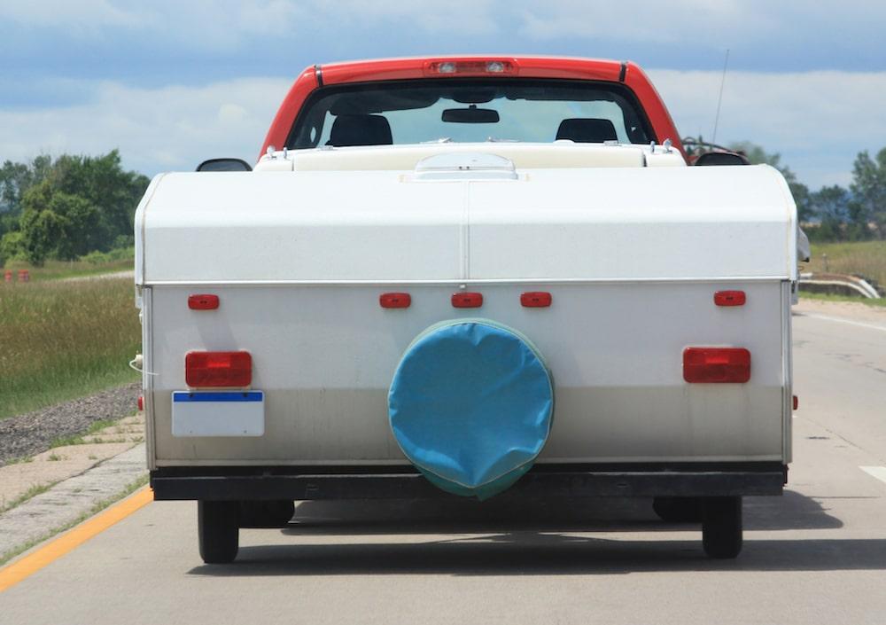 pop up camper being towed