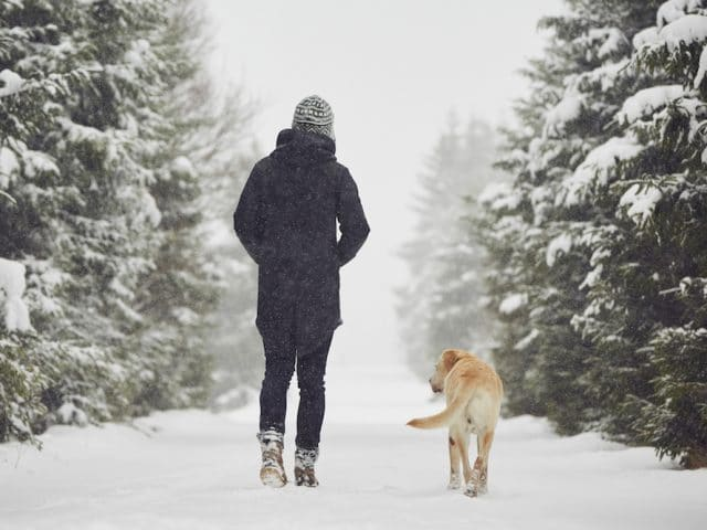 A woman properly dressed for hiking in the winter with her dog.