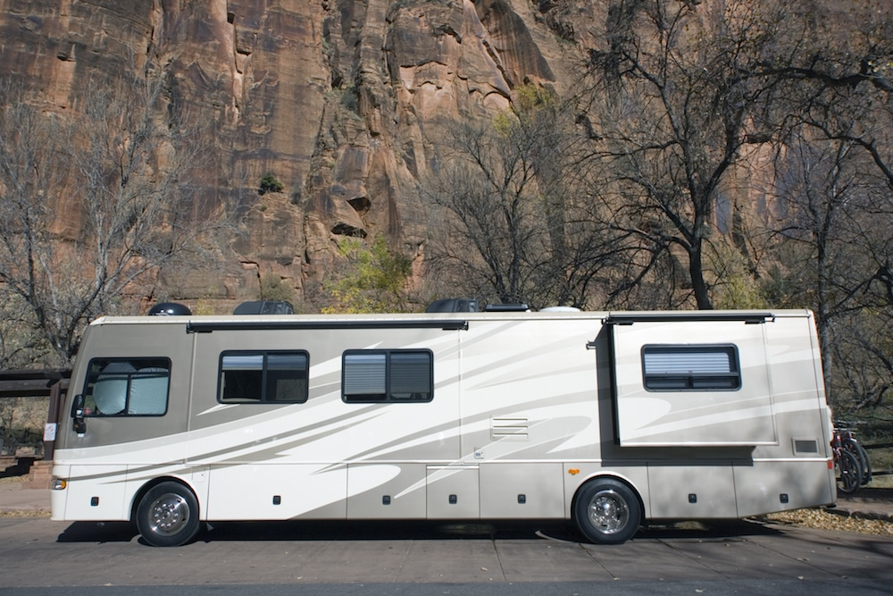 A large Class A RV parked.