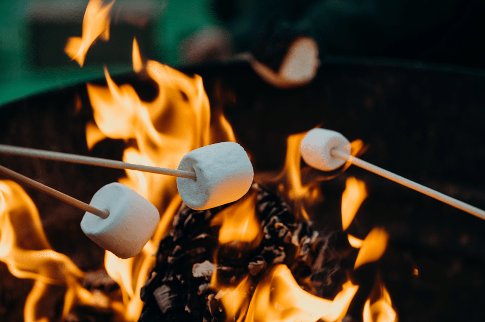 Marshmallows roasted over a campfire