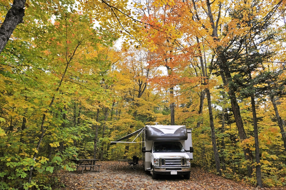 Class C RV dry camping in forest