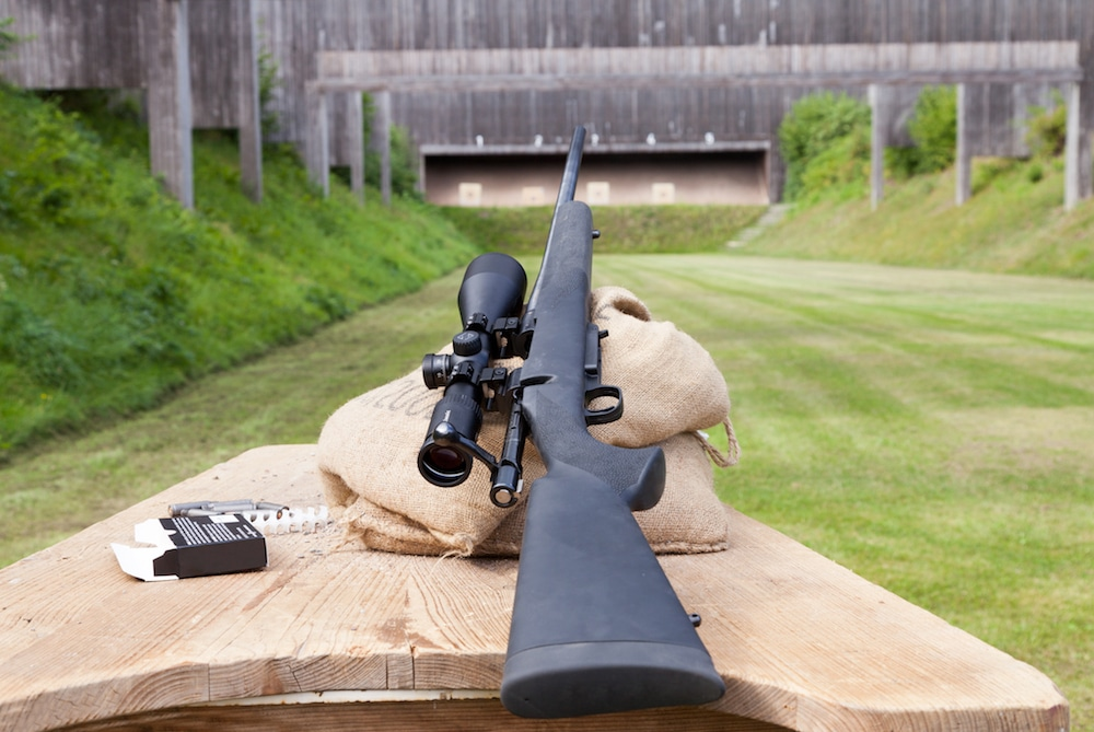 hunting rifle at a shooting range