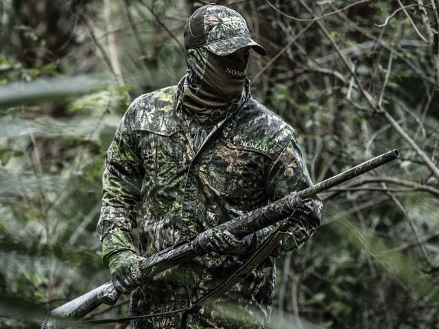 Hunter alone in the woods