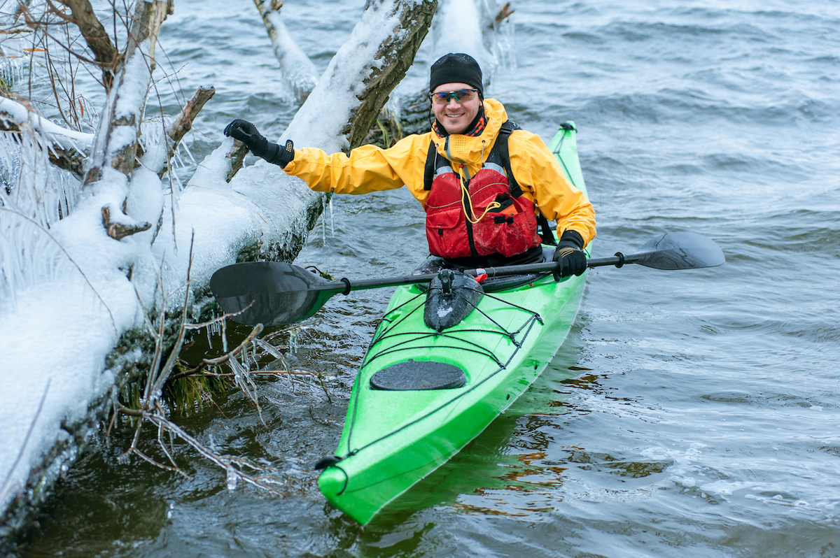winter kayaking on the river in Ukraine 28