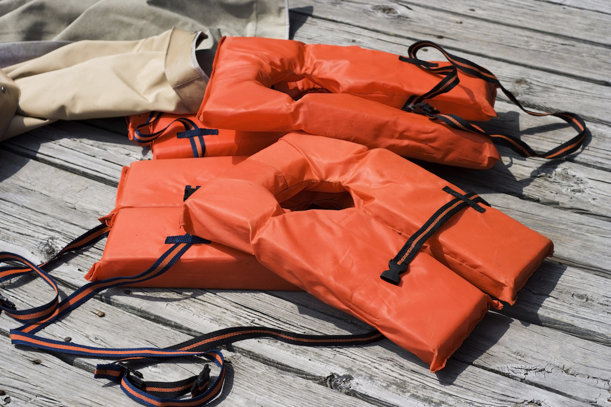 PFD or Lifejackets on a deck of a boat