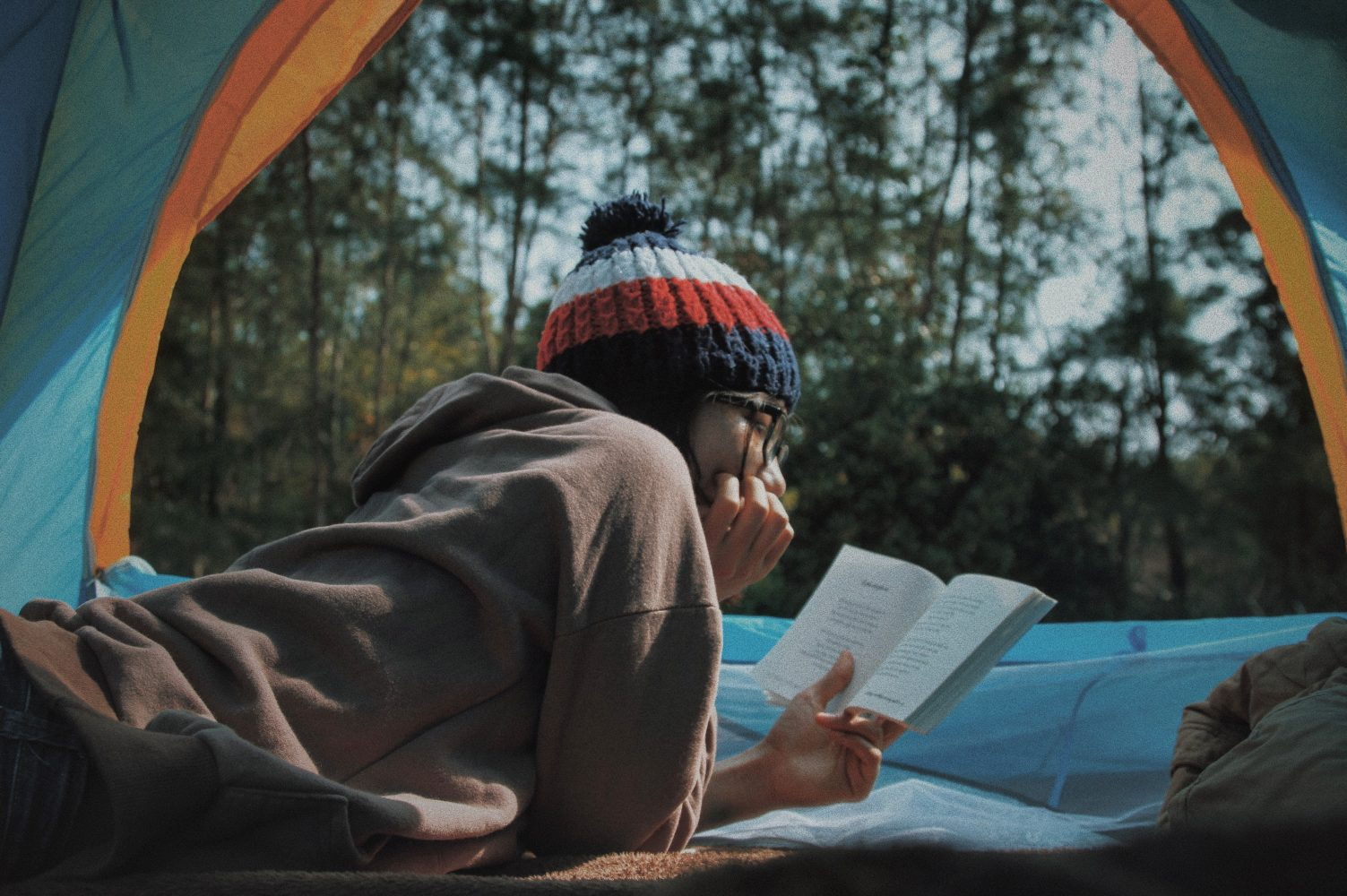Reading inside tent