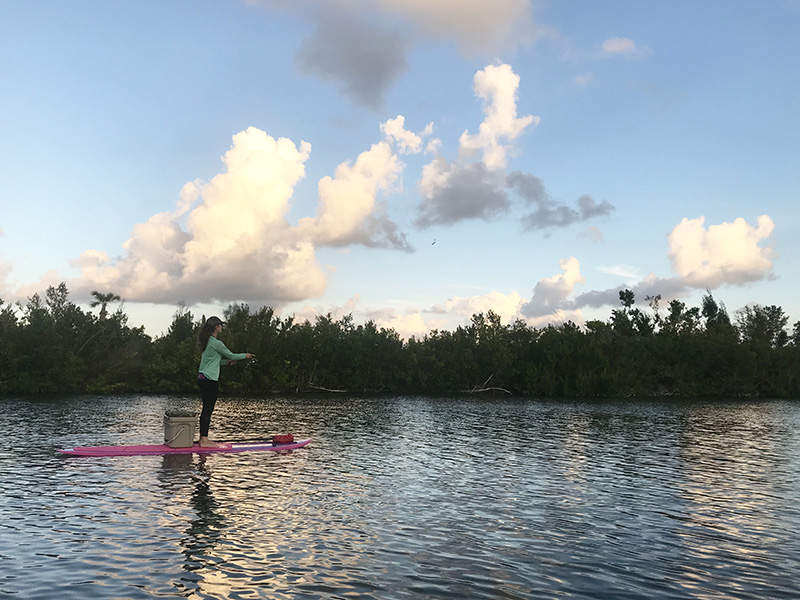 Fiberglass paddle board fishing setup