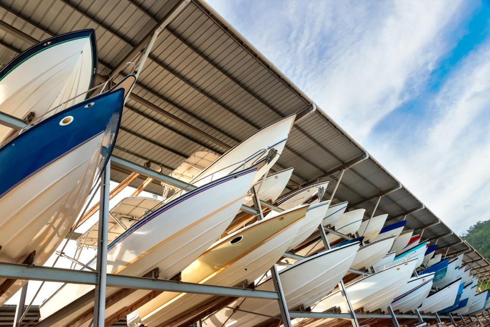 Power boats sheltered parking facility marina in Trinidad