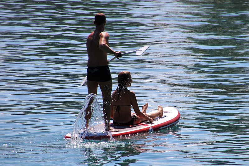 Two people on a paddleboard