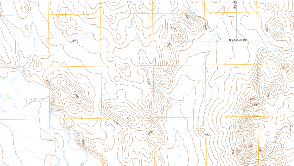 "Contour lines bend in a ""V"" pointing to the source of streams."