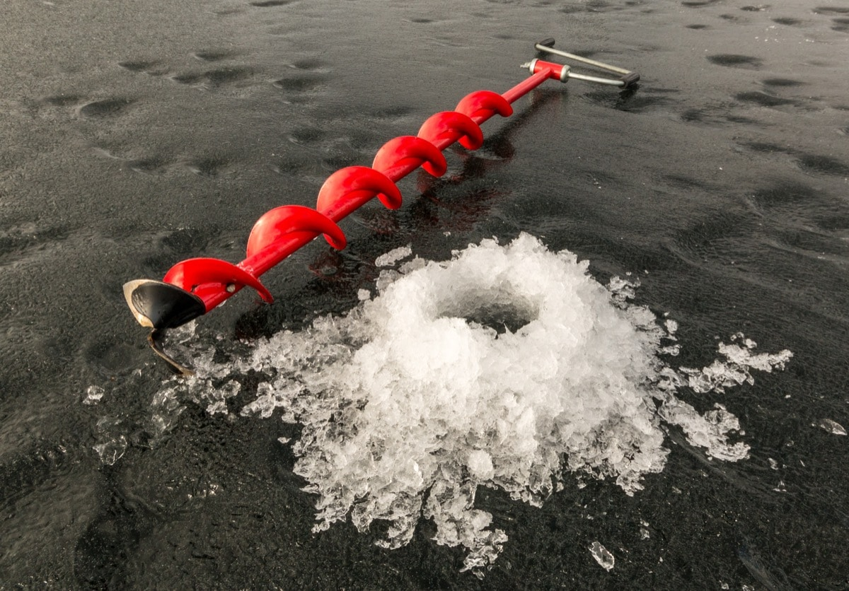 How to drill an ice fishing hole with a hand auger