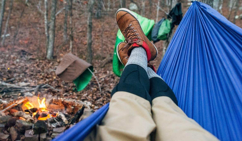 Hammock Camping Near Campfire