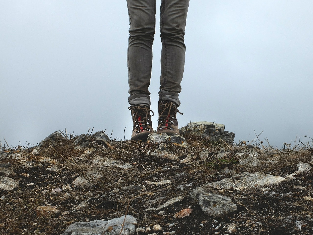 Woman wearing hiking boots